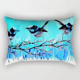 Aqua Fairy Wrens Rectangular Pillow