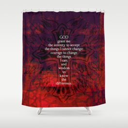 Serenity Prayer Inspirational Quote With Beautiful Christian Art Shower Curtain