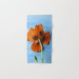 Red Poppy on Blue Hand & Bath Towel