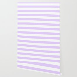 Chalky Pale Lilac Pastel and White Cabana Tent Stripes Wallpaper
