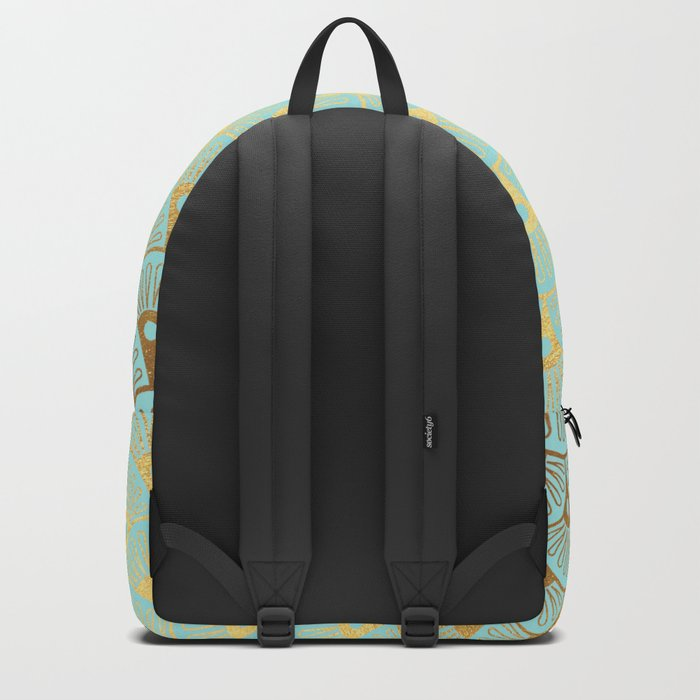 Art Deco Mermaid Scales Pattern on aqua turquoise with Gold foil effect Backpack