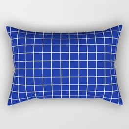 Indigo dye - blue color - White Lines Grid Pattern Rectangular Pillow