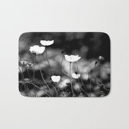White Poppy Flowers in Black and White #decor #society6 Bath Mat