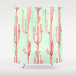 Cactus Stack Pink + Mint Shower Curtain