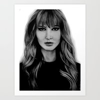 jennifer lawrence Art Prints featuring Jennifer Lawrence by Lydia Dick