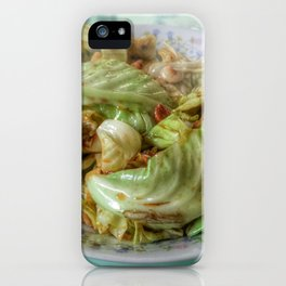 Stir-fry homemade organic Cabbage with chili pepper and garlic in oyster sauce. iPhone Case