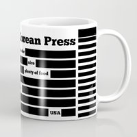 korea Mugs featuring North Korea News Paper by pollylitical