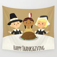 thanksgiving Wall Tapestries featuring Happy Thanksgiving by Sara Showalter