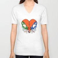 nietzsche V-neck T-shirts featuring Clementine's Heart by castlepöp