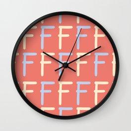 Hand Written Letter F Pattern Wall Clock