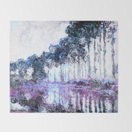 Monet : Poplars Lavender Periwinkle Deep Blue Throw Blanket