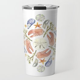 Tide Pool Beach Mandala 5 - Watercolor Travel Mug