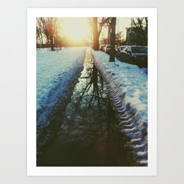 late winter sunset Art Print