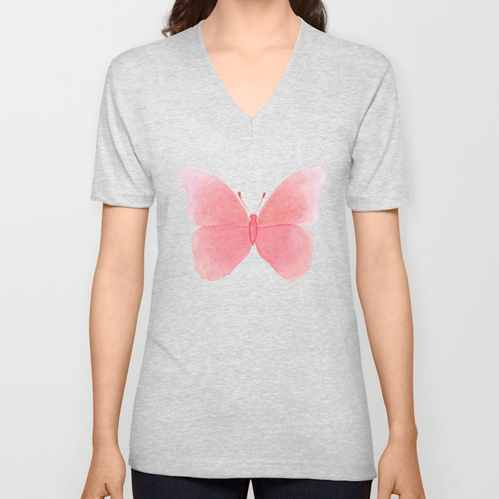 Watermelon pink butterfly Unisex V-Neck