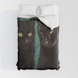 Two Black Cats Duvet Cover