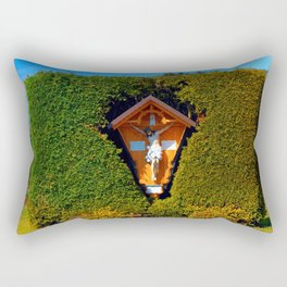 Jesus, a cross and a trimmed bush Rectangular Pillow