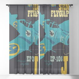 Swedish EP-106 airplane poster ShreddyStudio Dennis Weber Sheer Curtain