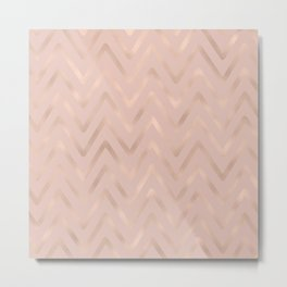 Elegant Soft Pink Rose Gold Geometric Chevron Metal Print