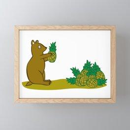 Pineapple Harvesting Bear Framed Mini Art Print