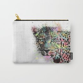 Cool leopard animal watercolor splatters abstract paint Carry-All Pouch