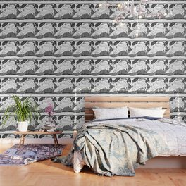 Black and white frogs outline drawing Wallpaper