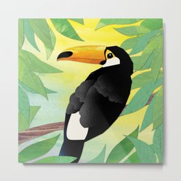 Toucan Collage and Sunrise Metal Print