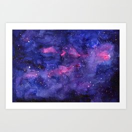 Galaxy Pattern Watercolor Nebula Texture Art Print