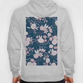 Elegant mauve pink white navy blue rustic floral Hoody