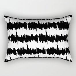 Large Black and White Stripes NYC Skyline Rectangular Pillow