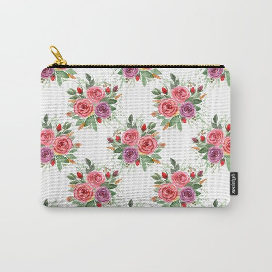 Watercolor . A bouquet of roses. 2 Carry-All Pouch
