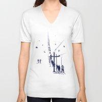 ski V-neck T-shirts featuring Ski lift by Grilldress