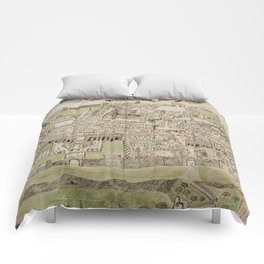 Vintage Map of Jerusalem Israel (16th Century) Comforters