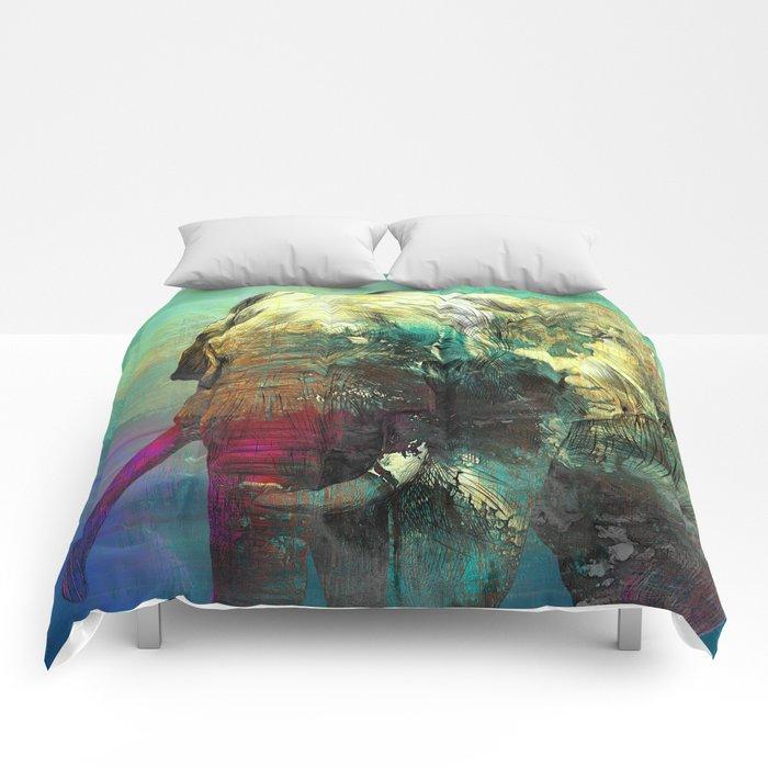Abstract Grunge Elephant Digital art Comforters
