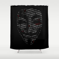 vendetta Shower Curtains featuring Remember by HappyMelvin