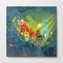 Tiger in the Garden of Kings Metal Print