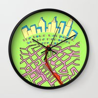 paper towns Wall Clocks featuring Paper Towns by green.lime