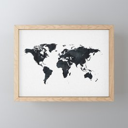 World Map in Black and White Ink on Paper Framed Mini Art Print