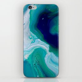 Abstract Mable Colorful Blue Turquoise Fluid Acrylic Painting Design iPhone Skin