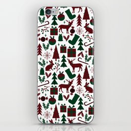 Plaid antler deer stocking christmas pudding christmas trees candy canes iPhone Skin