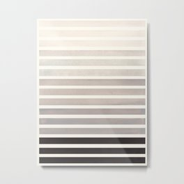 Watercolor Gouache Mid Century Modern Minimalist Colorful Grey Stripes Metal Print