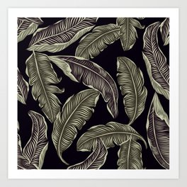 palm leaves black Art Print