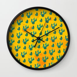 Colorful Abstract Art Retro Cactus Pattern Wall Clock
