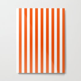 Narrow Vertical Stripes - White and Dark Orange Metal Print