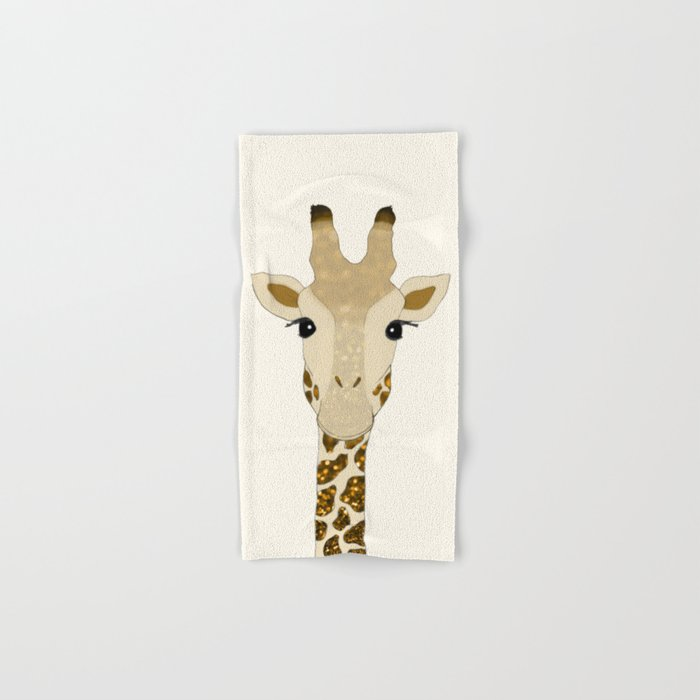 Golden Glitter Giraffe Hand & Bath Towel