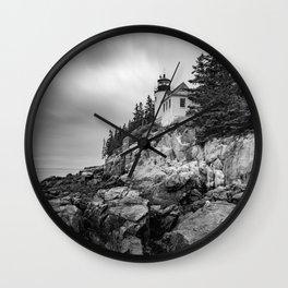 Bass Harbor Lighthouse Black White Print Wall Clock