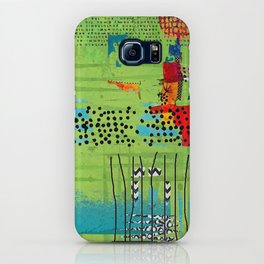Red and Green Abstract Art Collage iPhone Case