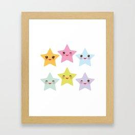 Kawaii stars, face with eyes, pink green blue purple yellow Framed Art Print