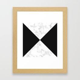 diagonal tiles marble black pattern Framed Art Print