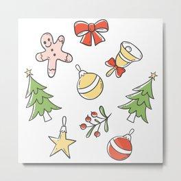 White Christmas Doddle Pattern Metal Print