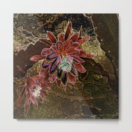 Night Cactus Bronze Metal Print